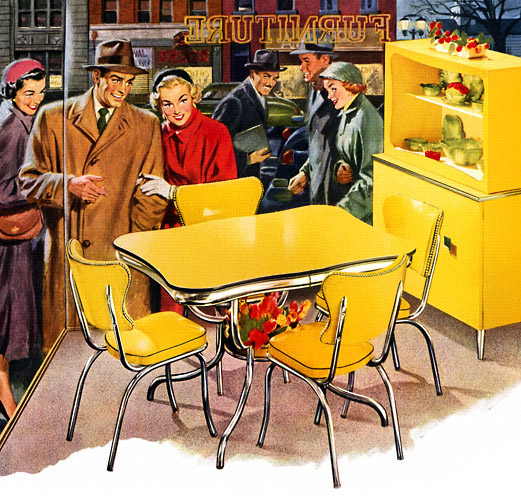 Plan59 Retro 1940s 1950s Decor Furniture Kuehne Khrome Dinette 1952