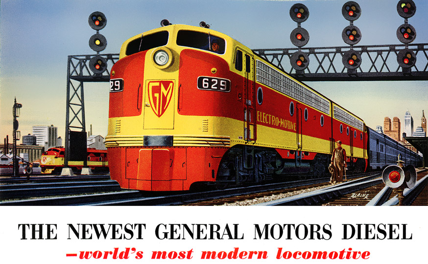 Electro Motive Diesel >> Plan59 Classic Train Art Gm Electro Motive Diesel Engines