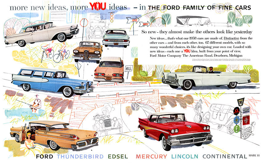 Plan59  Classic Car Art  Vintage Ads  1958 Ford Family of Fine Cars  sc 1 st  Plan59 & Plan59 :: Classic Car Art :: Vintage Ads :: 1958 Ford Family of ... markmcfarlin.com