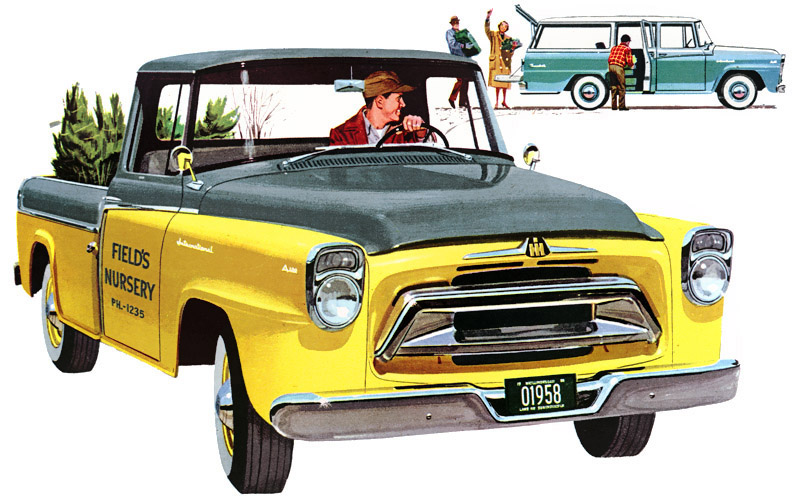 1958 International A100 In Sunshine Yellow And Driftwood Grey