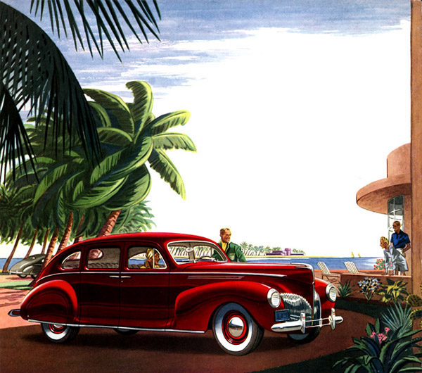 THE LINCOLN-ZEPHYR PAUSES UNDER SOUTHERN PALMS