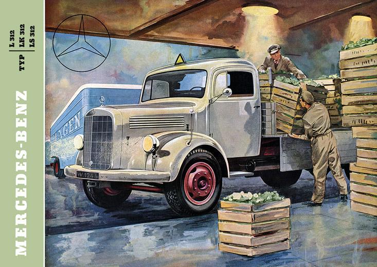 Plan59 classic truck art 1956 mercedes 312 trucks for Old mercedes benz trucks