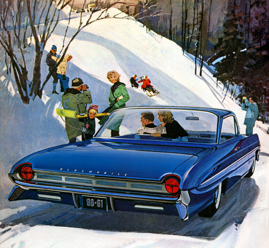 Plan59 Classic Car Art Vintage Ads 1961 Olds 98