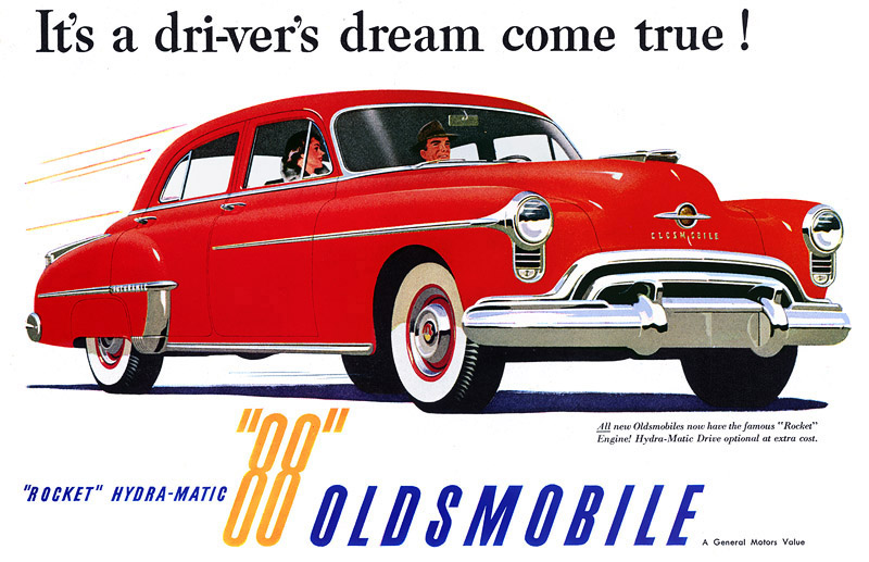 Plan59 Classic Car Art 1950 Oldsmobile 88