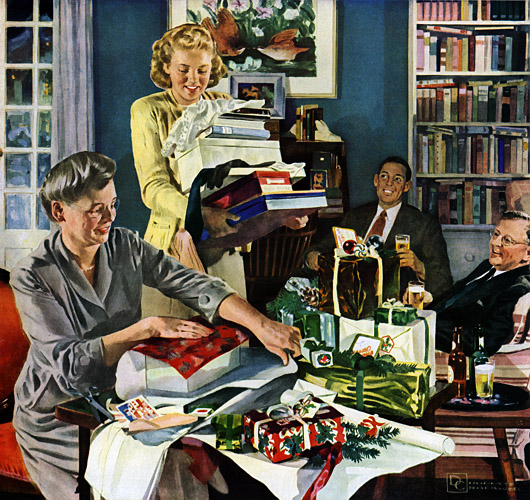 beer belongs enjoy it us brewers foundation 1948 recently added xmas home getting ready for christmas by douglass crockwell 1904 1968 - 1950s Christmas