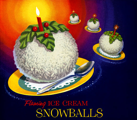 Plan59 :: Retro Vintage 1950s Christmas Ads and Holiday Art :: Flaming Ice Cream Snowballs, 1955